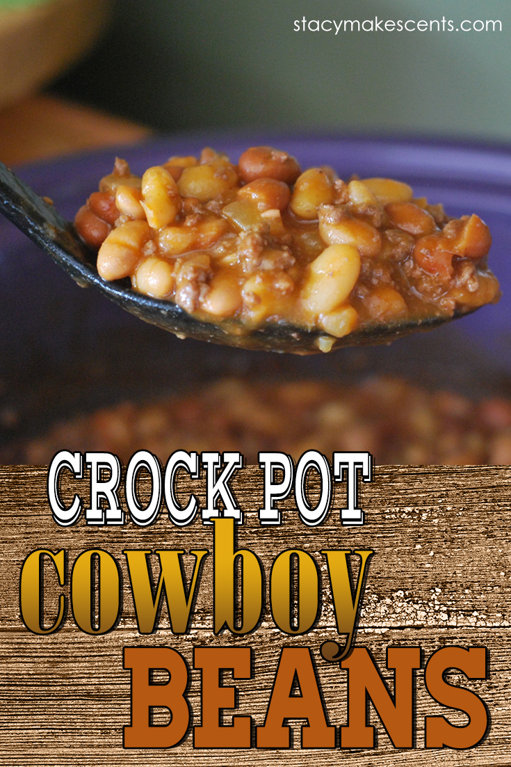 Crock Pot Cowboy Beans. This dish is great for taking to a potluck or even making an extra batch to freeze later!