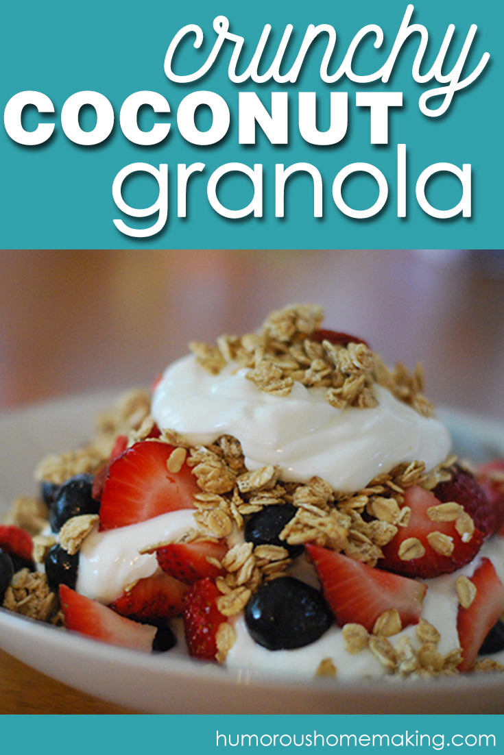 This sugar free Crunchy Coconut Granola will knock your socks off! It's so good. Mixed up with some Greek yogurt and berries, and this is a total win.