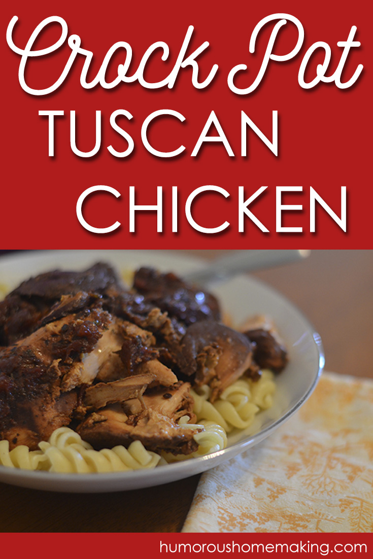 This Crockpot Tuscan Chicken is really quick and easy to whip up. Just mix it all together, pour it on top of some chicken in your crockpot, walk away and come back at dinner time.