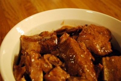 Easy Crockpot Ribs. No boiling and then baking and then basting. Just plop these babies in the crock and then thicken the sauce later.