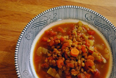 Crockpot Lentil Vegetable Soup. A great idea for meatless Monday! So good your family will never miss the meat.